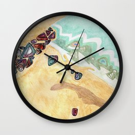 Woodstown Beach Ireland Ocean Rain Rocks Colorful  Wall Clock