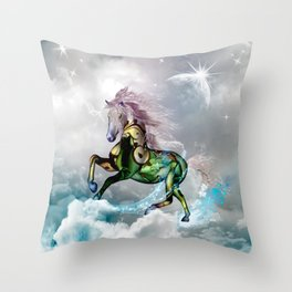 Wonderful horse with flowers Throw Pillow