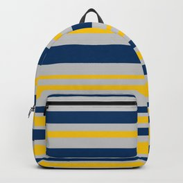 Variable Stripes in Mustard Yellow, Silver Gray, and Navy Blue Backpack