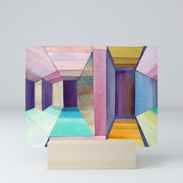 Watercolor Perspective Collage Mini Art Print
