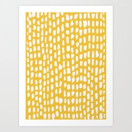 organic pattern on yellow Art Print
