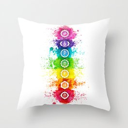 Seven Chakra Watercolor With Symbols - 01 Vertical Throw Pillow