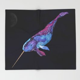 Starwhal Watercolor Painting by Imaginarium Creative Studios Throw Blanket