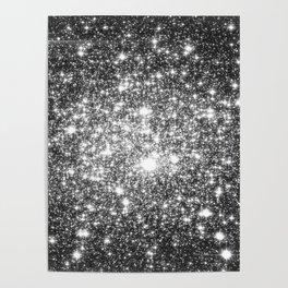 Black Slate Sparkle Stars Poster