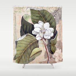 Vintage White Magnolia Shower Curtain