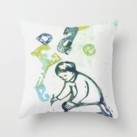 writing Throw Pillows featuring writing by valentina biletta