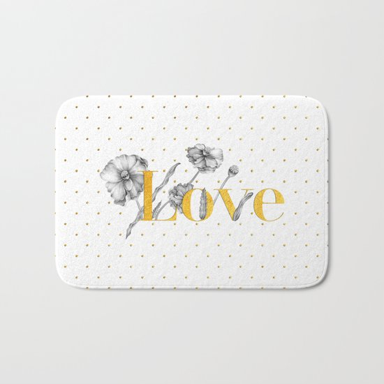 Love - Gold flowers and polkadots on white Bath Mat
