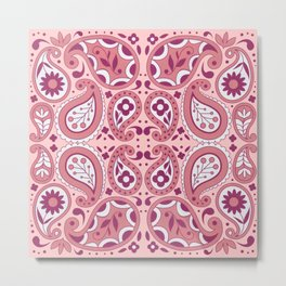 Pink and White Paisley Pattern Flowers Tear Drops Abstract Design Metal Print