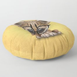 Cute Cougar Cub Wearing Reading Glasses on Yellow Floor Pillow