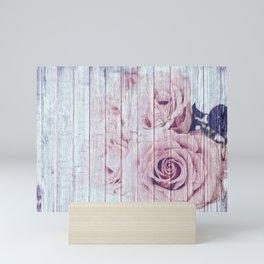 Shabby Chic Dusky Pink Roses On Blue Wood Background Mini Art Print