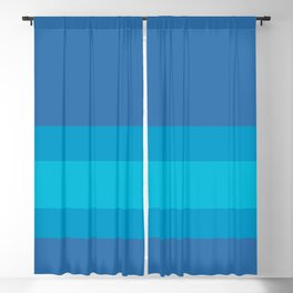 Into the Blue - Minimalist Banded Color Block Pattern Blackout Curtain