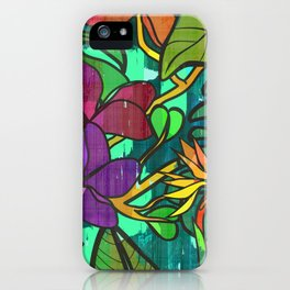 Tropical leaves, jungle print iPhone Case
