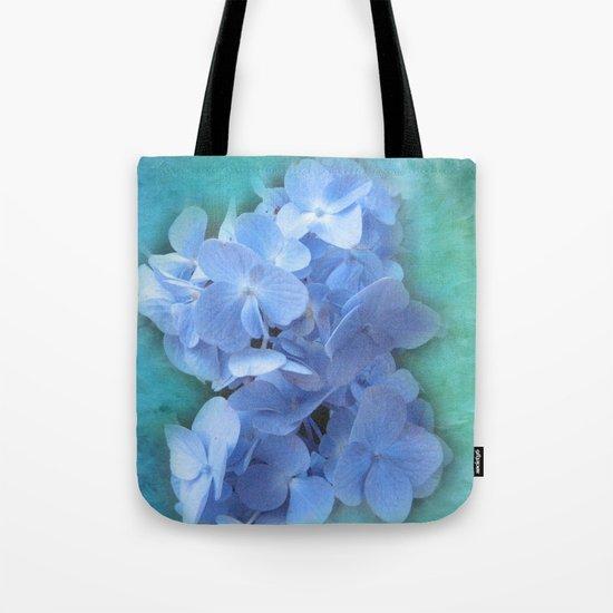 Blue Hydrangea on Green Tote Bag