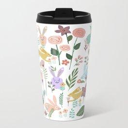 Springtime In The Bunny Garden Of Floral Delights Metal Travel Mug