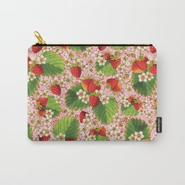 Pink Paisley Strawberries Carry-All Pouch