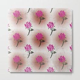 Floral Neck Gator Pink Rose Distressed Pattern Metal Print