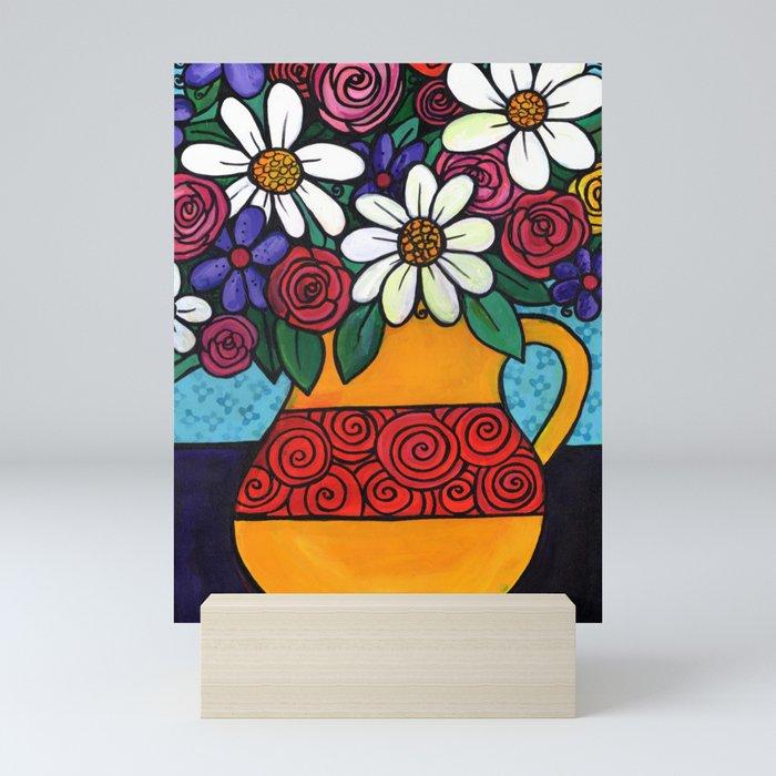Pitcher of Flowers Mini Art Print