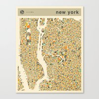 new york map Canvas Prints featuring NEW YORK Map by Jazzberry Blue
