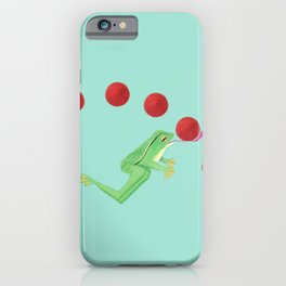Juggling Frogs - blue background iPhone Case