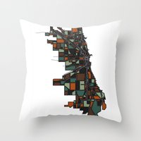 chicago map Throw Pillows featuring Chicago by BigRedSharks