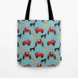 Great Dane jeep car dog breed pattern custom pet portrait Tote Bag