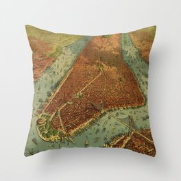 Aerial View of New York by Root & Tinker (1879) Throw Pillow