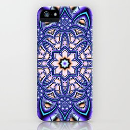 Kaleidoscope flower in purple, pink, blue and salmon. iPhone Case