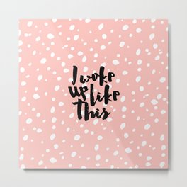 Funny expression coral white modern polka dots  Metal Print