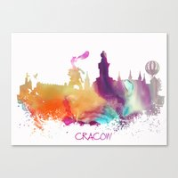 poland Canvas Prints featuring Cracow Poland skyline by jbjart