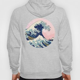 The Great Wave off Kanagawa by Hokusai on a pink landscape Hoody
