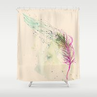breathe Shower Curtains featuring Breathe  by rskinner1122