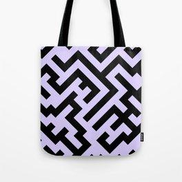 Black and Pale Lavender Violet Diagonal Labyrinth Tote Bag