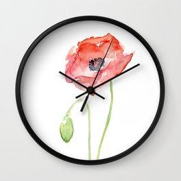 Red Poppy Flower Flowers Wall Clock