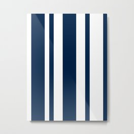 Mixed Vertical Stripes - White and Oxford Blue Metal Print