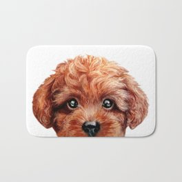 Toy poodle- red, brown Bath Mat