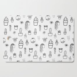 Cacti and Succulents Line Drawing Pattern Cutting Board