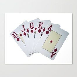 casino card game poker royal flush diamonds Canvas Print