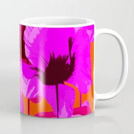 Pink And Red Poppies On A Orange Background - Summer Juicy Color Palette Retro Mood #decor #society6 Coffee Mug