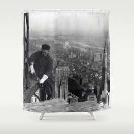 Construction worker Empire State Building NYC Shower Curtain