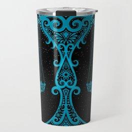 Blue Libra Zodiac Sign in the Stars Travel Mug