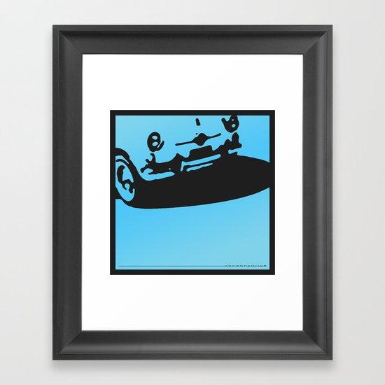 Fiat 600 Detail, Light Blue on Black Framed Art Print