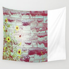 Sun flowers and brick  Wall Tapestry