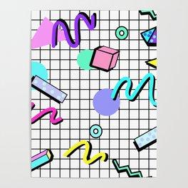 80s Retro Party Grid Design (White BG) Poster