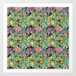 Rainbow Pom Pom Mums in Black Art Print