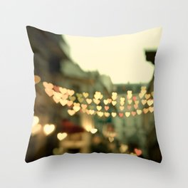 Looking for Love - Paris Hearts Throw Pillow