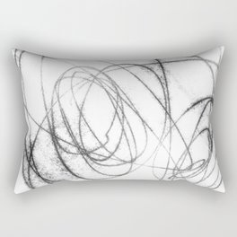 Black and White Minimalist Abstract Line Drawing Rectangular Pillow