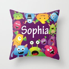 Cute & lovely monsters - Sophia (purple background) Throw Pillow