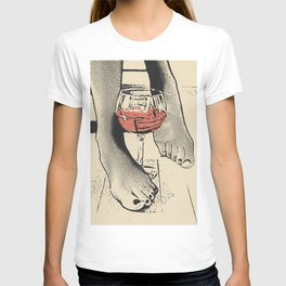 Perfect saturday night - kinky feets fetish artwork, woman in bodystocking with wine glass T-shirt
