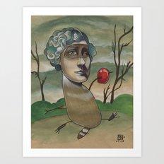 RED APPLE RACCOON Art Print