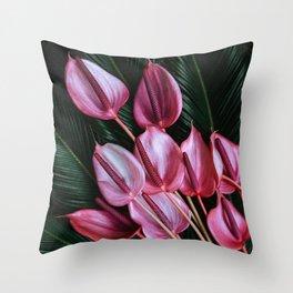 Anthurium and Sago Palm Throw Pillow